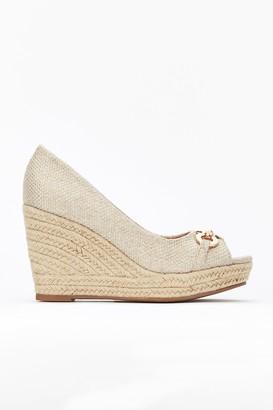 Wallis Nude Buckle Wedge Heel Shoe