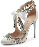 Aquazzura Stella Jeweled Bridal 105mm Pump, White
