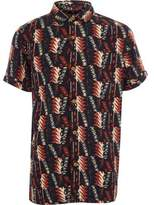 River Island Boys black tribal print short sleeve shirt