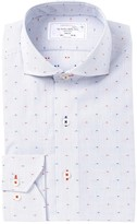 Lorenzo Uomo Embroidered Fine Line Trim Fit Dress Shirt