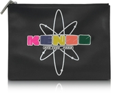 Kenzo Black Leather Nasa Clutch w/Embossed Rubberized Logo