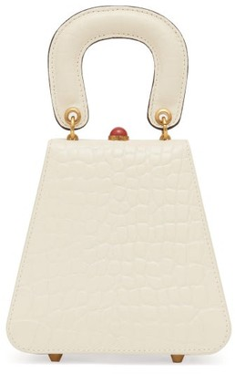 STAUD Kenny Crocodile-embossed Leather Handbag - Womens - Cream