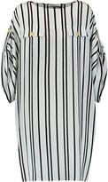 Pierre Balmain Striped silk crepe de chine mini dress