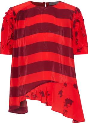 Preen Line Dakota Asymmetric Paneled Printed Satin-crepe T-shirt