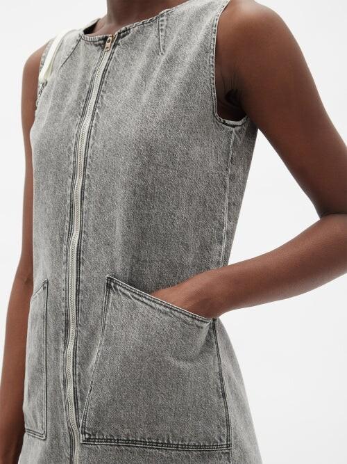Thumbnail for your product : Kuro Zipped Washed-denim Midi Dress - Grey