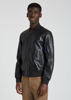 Thumbnail for your product : Paul Smith Men's Black Lamb Leather Bomber Jacket