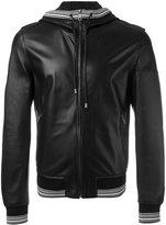 Dolce & Gabbana sports trim hooded jacket - men - Lamb Skin/Cotton/Polyamide/Spandex/Elastane - 50