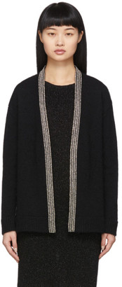 Saint Laurent Black Oversized Wool Embroidered Cardigan