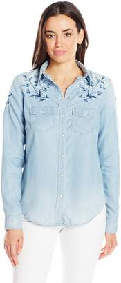 Grace in LA Women's Floral Embroidered Shirt