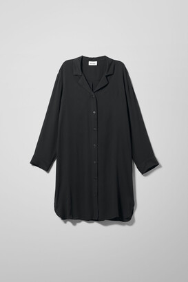 Weekday Logan Long Shirt - Black