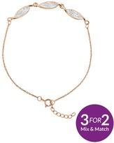 Evoke Sterling Silver Rose-Gold Plated & Swarovski Elements Swirl Bracelet