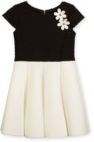 Zoë Ltd Cap-Sleeve Pleated Jacquard & Ponte Dress, Black/White, Size 4-6X