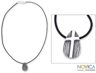 Novica Handmade Sterling Silver Men's 'Tree of Faith' Leather Cross Necklace