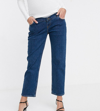 Asos DESIGN Maternity High rise stretch 'slim' straight leg jeans in mid vintage wash with over the bump band-Blue
