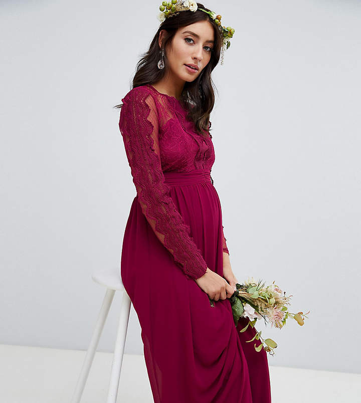 TFNC Maternity Maternity lace detail bridesmaid maxi dress in burgundy
