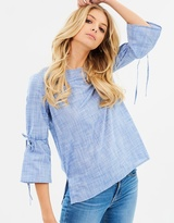 Dorothy Perkins Chambray Tie Flute Sleeve Top
