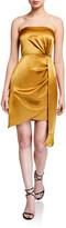 Aidan Mattox Strapless Liquid Satin Mini Cocktail Dress w/ Side Drape Detail