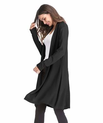 CARCOS New Midi Length Open Front Cardigan Women Boyfriend Cardigan for Women Plain Long Sleeve Tops Sweater Ladies Black
