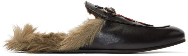 Gucci Black Snake Fur Princetown Slippers