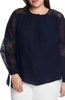 Vince Camuto Lace Inset Georgette Blouse