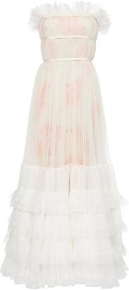 Giambattista Valli Strapless Ruffled Tulle Gown