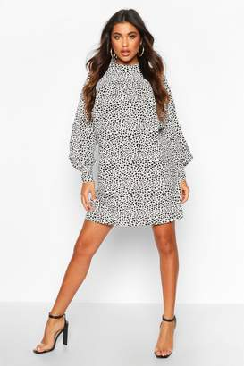 boohoo Polka Dot High Neck Dress