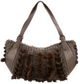 Salvatore Ferragamo Fur & Leather-Trimmed Shoulder Bag