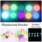 NICOLE DIARY 10 Neon Colors Phosphorescent Luminescent Fluorescent Powder Glow In Dark Nail Decorations Nail Art Acrylic Use DIY Kit