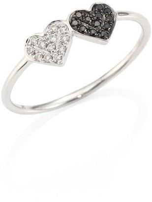 Sydney Evan Small Pave Double Heart Diamond & 14K White Gold Ring