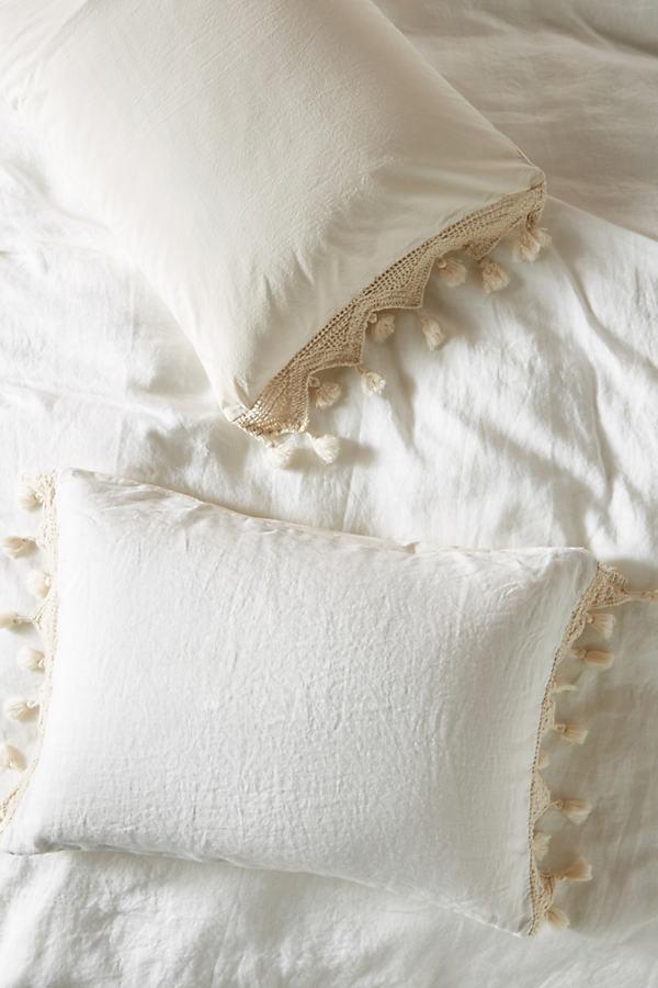 Tasseled Linen Shams, Set of 2 By Anthropologie in White Size S2 qn sham