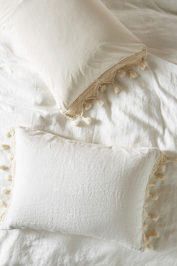 Tasseled Linen Shams, Set of 2 By Anthropologie in White Size S2kngsham