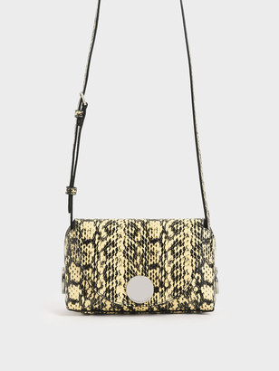 Charles & Keith Snake Print Metal Accent Mini Crossbody Bag