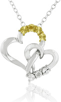 Ice Two-Tone Diamond Accent Heart Pendant Necklace in Sterling Silver