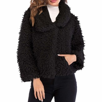 Yczx Women Coat Ladies Winter Warm Fluffy Faux Fur Short Overcoats Soft Furry Cute Jacket Lapel Long Sleeve Casual Plush Cardigans Ladies Elegant Outwear L