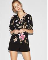Express floral kimono sleeve button front blouse