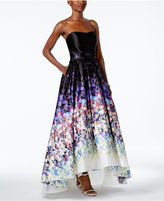 Betsy & Adam Floral-Print Strapless High-Low Gown