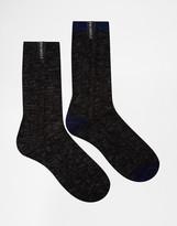 Pringle Of Scotland Boot Socks In 2 Pack Black Label - Black
