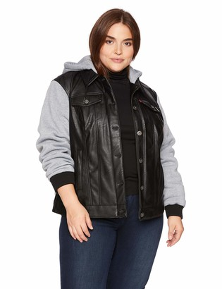 Levi's Women's Plus Size Mixed Media Faux Leather Hooded Trucker Jacket