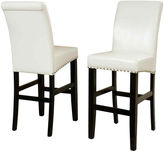 JCPenney Fallon Set of 2 Bonded Leather Barstools with Nailhead Trim