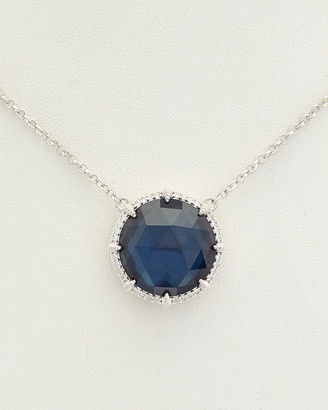 Judith Ripka La Petite Silver 30.32 Ct. Tw. London Blue Spinel Pendant Necklace