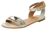 Marc by Marc Jacobs Flat Glitter Leather Logo Sandal