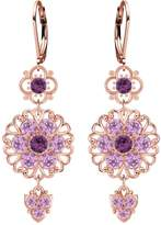 Lucia Costin Dangle Flower Earrings Made of 24K Pink Gold Plated over .925 Sterling Silver with Filigree Ornaments and Lovely Charms, Adorned with Violet and Lilac Swarovski Crystals; Handmade in USA