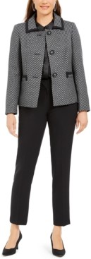 Le Suit Slim-Leg Contrast-Trim Pants Suit
