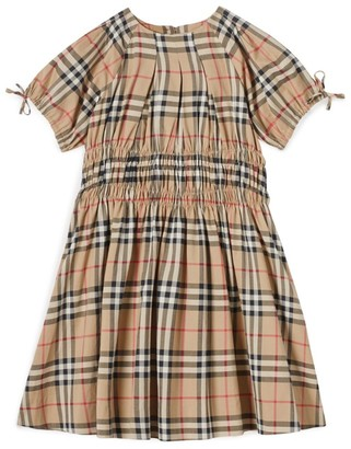 Burberry Kids Ruched Vintage Check Cotton Dress (3-12 Years)