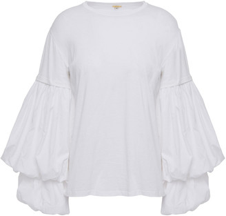 Johanna Ortiz Catrina Gathered Poplin-paneled Cotton-jersey Top