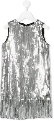 Msgm Kids Sequinned Fringe-Trimmed Dress