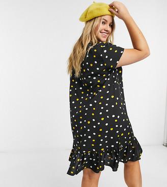 Wednesday's Girl Curve mini smock dress with peplum hem in smudge polka dot