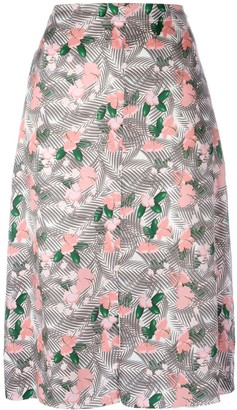 Julien David floral printed midi skirt