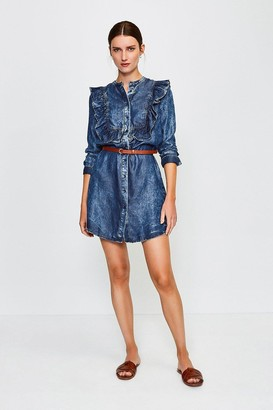Karen Millen Long Sleeve Acid Wash Frill Dress