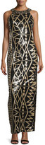 Sue Wong Beaded Geometric-Print Column Gown